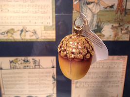 Gold Tone Brown Acorn Blown Glass Ornament Holiday Tree Old German Christmas image 2