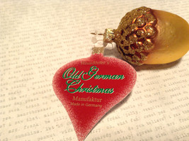 Gold Tone Brown Acorn Blown Glass Ornament Holiday Tree Old German Christmas image 4