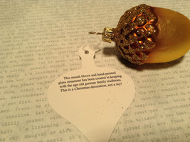 Gold Tone Brown Acorn Blown Glass Ornament Holiday Tree Old German Christmas image 5