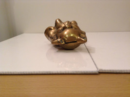 Gold Tone Cat Figurine Display Piece Six Inches Tall Five Inches Wide image 3