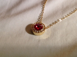 Gold Plated Red Crystal w accents  Lobster Clasp Round Pendant image 3