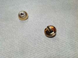 Gold Tone Clip On Earrings with Large Crystals image 3