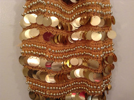 Gold Sequins Bag Purse with Gold Beads Lined Inside Zipper Pocket image 2