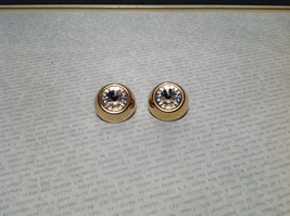 Gold Tone Clip On Earrings with Large Crystals image 2