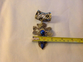 Gold Tone Cross Shape with Light and Dark Blue Crystals Scarf Pendant 4 Inches image 3
