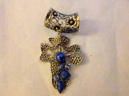 Gold Tone Cross Shape with Light and Dark Blue Crystals Scarf Pendant 4 Inches image 2