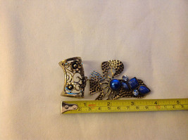 Gold Tone Cross Shape with Light and Dark Blue Crystals Scarf Pendant 4 Inches image 4