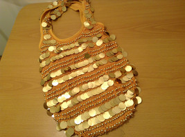 Gold Sequins Bag Purse with Gold Beads Lined Inside Zipper Pocket image 5