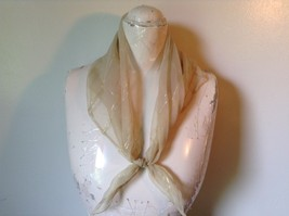 Gold Square Scarf with  Golden Lines 27 Inches by 24 Inches Vintage Look image 2