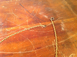 Gold Tone Necklace with Cat Pendant Brown White Stone Set on Copper Alloy image 3