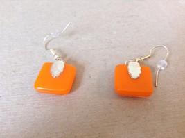 Gold Tone Orange Metallic Zig Zag Pattern Square Shaped Glass Dangling Earrings image 4