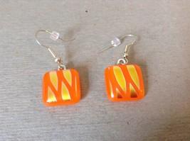 Gold Tone Orange Metallic Zig Zag Pattern Square Shaped Glass Dangling Earrings image 2