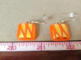 Gold Tone Orange Metallic Zig Zag Pattern Square Shaped Glass Dangling Earrings image 5