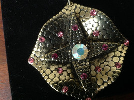 Gold Tone Scarf Pendant with Large Multicolored Crystal and Small Pink Crystals image 4
