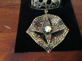 Gold Tone Scarf Pendant with Large Multicolored Crystal and Small Pink Crystals image 2