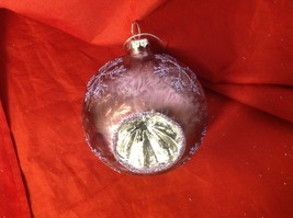 Holiday glass ornament Christmas icy frosty purple mirror windows and snowflake image 3