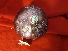 Holiday glass ornament Christmas icy frosty purple mirror windows and snowflake image 12