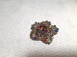 Gold Tone Swarovski Inlaid Multicolor Flower Brooch Pin Red Green Yellow Crystal image 3