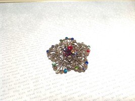 Gold Tone Swarovski Inlaid Multicolor Flower Brooch Pin Red Green Yellow Crystal image 2