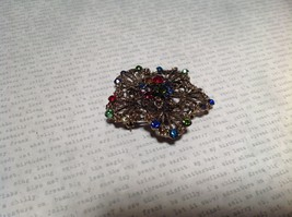 Gold Tone Swarovski Inlaid Multicolor Flower Brooch Pin Red Green Yellow Crystal image 4