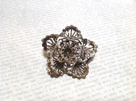 Gold Tone Swarovski Inlaid Multicolor Flower Brooch Pin Red Green Yellow Crystal image 7