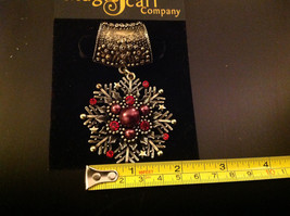 Gold Tone with Red and Copper Colored Crystals Scarf Pendant 2 Inches image 2
