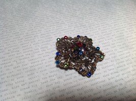 Gold Tone Swarovski Inlaid Multicolor Flower Brooch Pin Red Green Yellow Crystal image 5