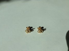 Gold Tone Tiny Study Earrings Flower Pattern with Tiny Crystal image 2