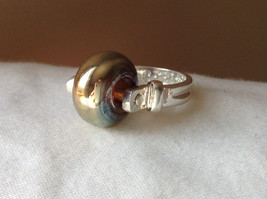 Gold Metallic Bead Silver Ring Size 4.75 by Beadit image 8