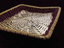 Golden Woven Metal Basket Tray with Red Beads Along the Sides image 3