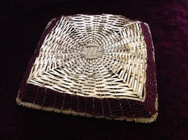 Golden Woven Metal Basket Tray with Red Beads Along the Sides image 4