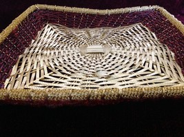 Golden Woven Metal Basket Tray with Red Beads Along the Sides image 2