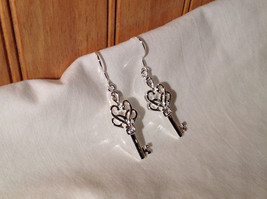 Gorgeous Silver Sterling plated  Double Heart Key Dangling Earrings image 2