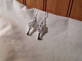 Gorgeous Silver Sterling plated  Double Heart Key Dangling Earrings image 3