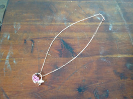Gorgeous Fish Shaped 10K Gold Plated Necklace with Pink Crystals Adjustable  image 2