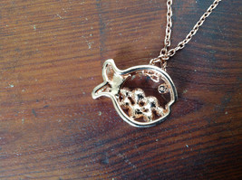 Gorgeous Fish Shaped 10K Gold Plated Necklace with Pink Crystals Adjustable  image 5