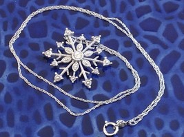 Gorgeous Sterling Silver Diamond Accent Snowflake Necklace Chain 18 Inches NIB image 3