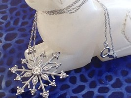 Gorgeous Sterling Silver Diamond Accent Snowflake Necklace Chain 18 Inches NIB image 2