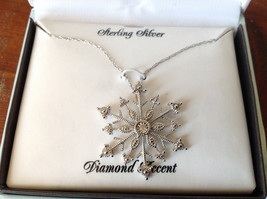 Gorgeous Sterling Silver Diamond Accent Snowflake Necklace Chain 18 Inches NIB image 11