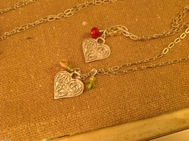 Gorgeous hand made pewter necklace USA artist heart w crystal bead charms image 2