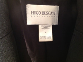 Hugo Buscati Pure Black Formal Jacket Blazer One Front Button Size 4 image 2