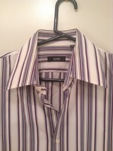 Hugo Boss Blue Pink Red White Striped Button Up Long Sleeve Shirt Size 16 by 34 image 2