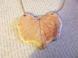 Grape Leaf Flat Ceramic Handmade Pendant Necklace Sterling Silver Chain image 3