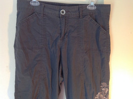 Gray Capri Pants by Style and Company Petite Size 12 Flower on Side image 3