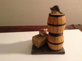 Cute Cats  Figurine Danbury Mint Barrels Basket of Apples Bale of Hay image 2