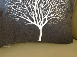 Gray Holiday Decorative Embroidered pillow with winter tree silhouette 16 inch image 4