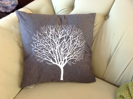 Gray Holiday Decorative Embroidered pillow with winter tree silhouette 16 inch image 5