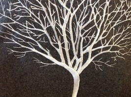 Gray Holiday Decorative Embroidered pillow with winter tree silhouette 16 inch image 2