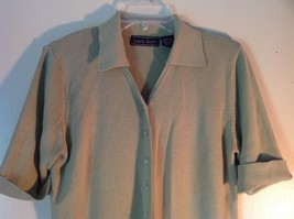 Gray Laura Scott Size Large Button Up Short Sleeve Collared Sweater image 2