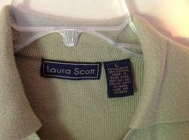 Gray Laura Scott Size Large Button Up Short Sleeve Collared Sweater image 3